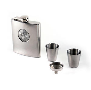 Scottish Royal Standard Lion 6oz Hip Flask Presentation Box Set with Funnel & Two Shot Cups Thumbnail 4