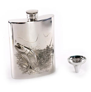Leaping Salmon Angler's 6oz Hip Flask Presentation Box Set with Funnel Thumbnail 1