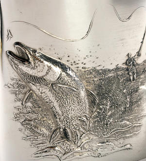 Leaping Salmon Angler's 6oz Hip Flask Presentation Box Set with Funnel Thumbnail 2