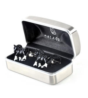 Cufflinks - Black Shire Horses Thumbnail 2