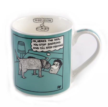 Snoring & Farting - Off the Leash Mug by Rupert Fawcett
