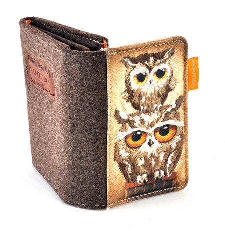 Book Owls - Wool & Canvas Wallet By Santoro