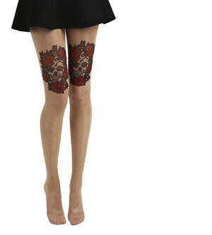 Skull and Red Roses Tattoo - Pamela Mann Tights Thumbnail 2