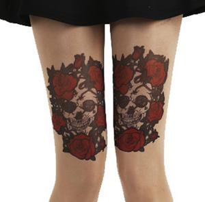 Skull and Red Roses Tattoo - Pamela Mann Tights Thumbnail 3