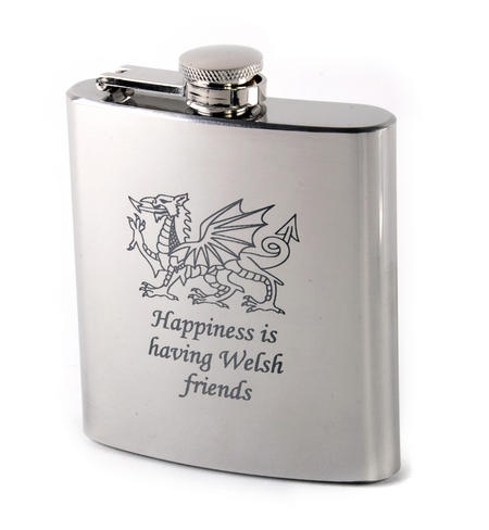 Happiness is Having Welsh Friends Hip Flask