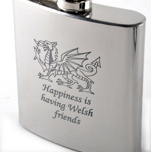 Happiness is Having Welsh Friends Hip Flask Thumbnail 3
