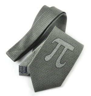 Pythagoras Tie in Olive Green with Numbers and Pi Design Thumbnail 2
