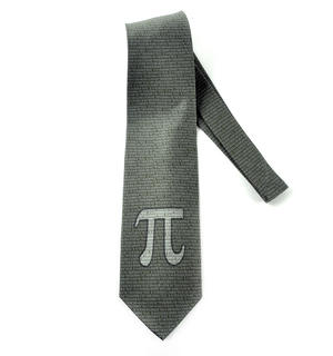 Pythagoras Tie in Olive Green with Numbers and Pi Design Thumbnail 4