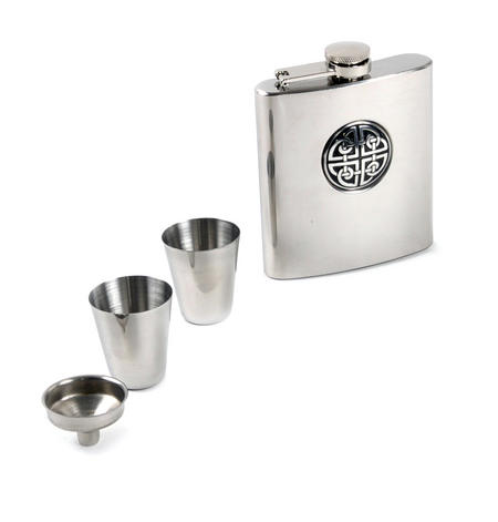 Celtic Knot - 6oz Hip Flask Presentation Box Set with Funnel & Two Cups