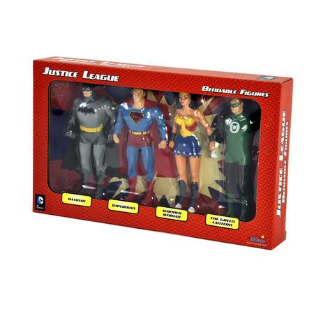 Justice League Bendable Action Figures Set - Batman / Green Lantern / Wonder Woman / Superman