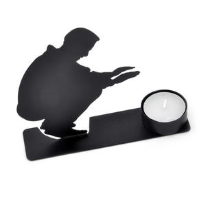 Warming Candle Holder - Silhouette Man Warming Up By The Candle Flame Thumbnail 2