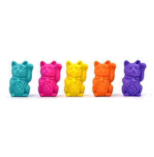 Lucky Cat Erasers - A Jar of Cat Pencil Top Rubbers Thumbnail 5