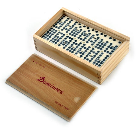 Classic Dominoes - Set of 55 Domino Double Nines in A Wooden Box