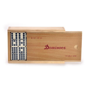 Classic Dominoes - Set of 55 Domino Double Nines in A Wooden Box Thumbnail 4