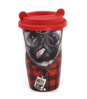 Coffee Crew - Pug Travel Mug With Rubber Ears Lid Thumbnail 1