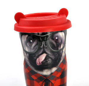 Coffee Crew - Pug Travel Mug With Rubber Ears Lid Thumbnail 2
