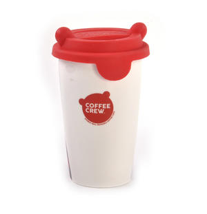 Coffee Crew - Pug Travel Mug With Rubber Ears Lid Thumbnail 3
