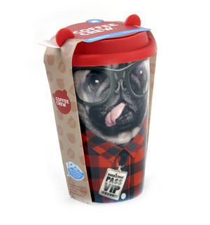 Coffee Crew - Pug Travel Mug With Rubber Ears Lid Thumbnail 5
