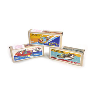 Pop Pop Boat  - Classic Candle Powered Speed Boat Tin Toy - Random Designs Thumbnail 2