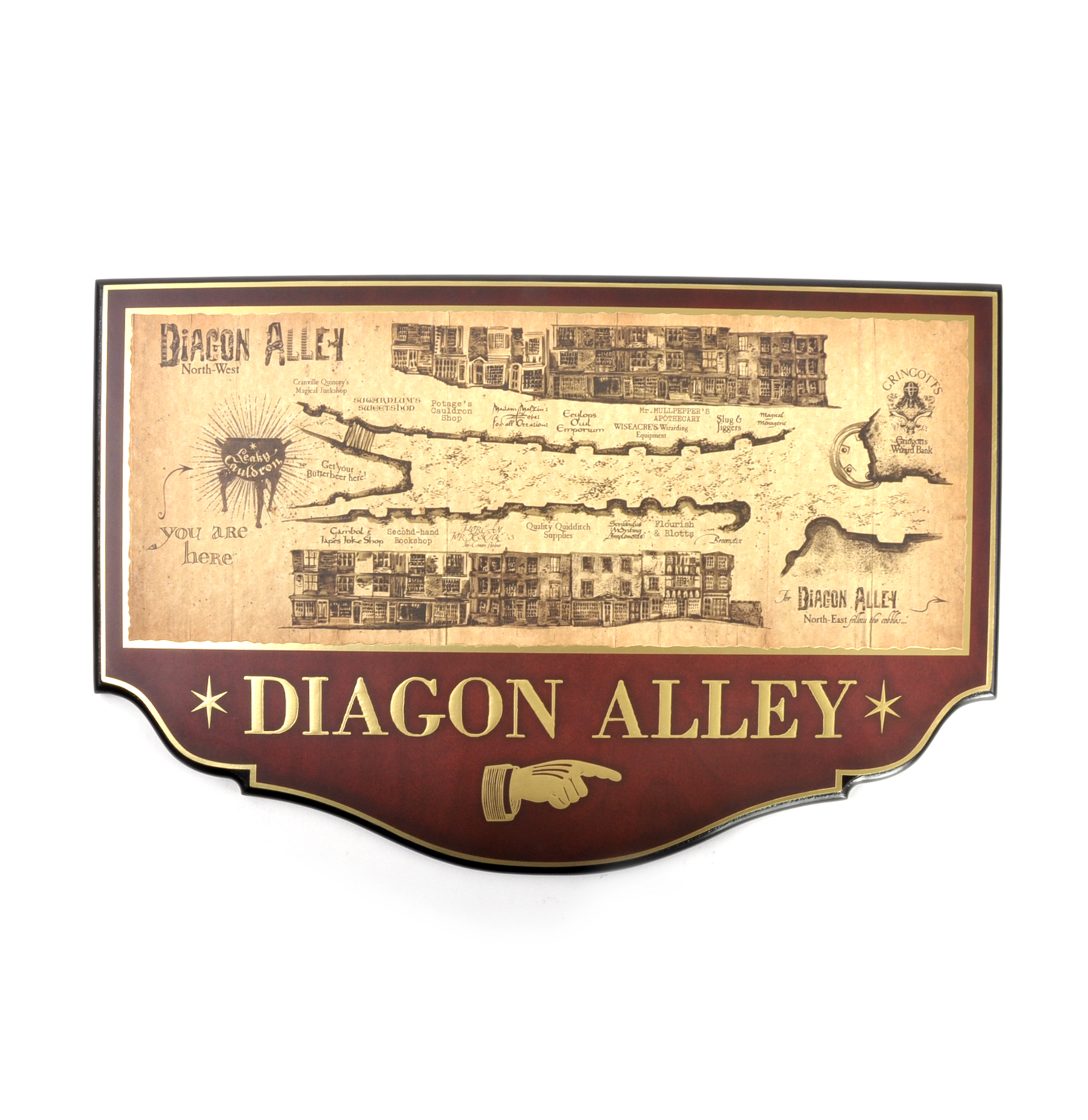 Diagon Alley Map Sign - Harry Potter Replica by Noble Collection on iowa county map, j.k. rowling map, ministry of magic map, wizard map, harry potter alley map, charing cross galloway street map, oklahoma tornado alley map, chamber of secrets map, hogwarts map, home map,