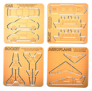 Construction Coasters - 24 Pop & Build Coasters - Plane / Car/ Boat / Rocket Thumbnail 1