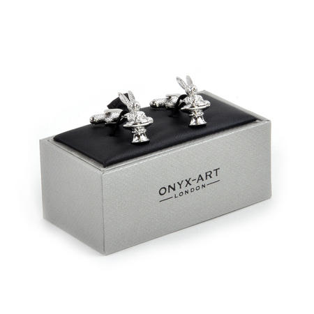 Cufflinks - Magician's Top Hat & Rabbit