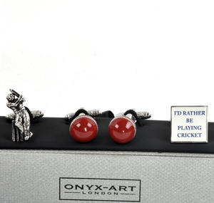 Three Pair Cufflinks Set - Cricket - Perfect Gift for a Cricketer Thumbnail 4