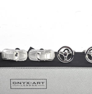 Three Pair Cufflinks Set - Sports Car - Perfect Gift for a Petrolhead Thumbnail 2
