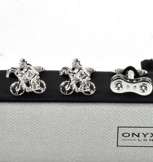 Three Pair Cufflinks Set - Cyclist Thumbnail 5