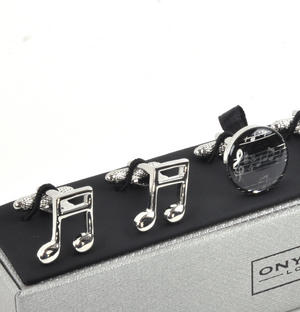 Three Pair Cufflinks Set - Music Notes - Perfect Gift for a Composer Thumbnail 2