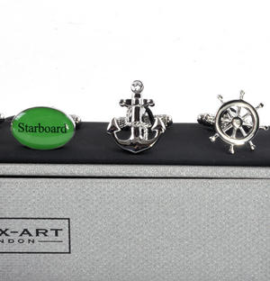 Three Pair Cufflinks Set - Port / Starboard - Perfect Gift for a Yachtman / Sailor Thumbnail 3