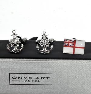 Three Pair Cufflinks Set - Royal Navy- Perfect Gift for a Sailor Thumbnail 5