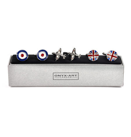 Three Pair Cufflinks Set - Royal Air Force (RAF)- Perfect Gift for a Pilot