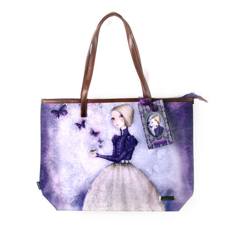 Amethyst Butterfly - Large Shopper Bag with Zipper By Mirabelle