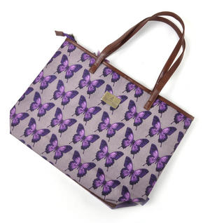 Amethyst Butterfly - Large Shopper Bag with Zipper By Mirabelle Thumbnail 5
