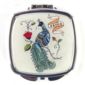 Frida Kahlo Peacock Compact Pocket Handbag Mirror