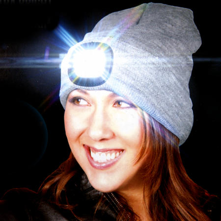 Grey LED Beanie - Beanie hat with built in LED torch.