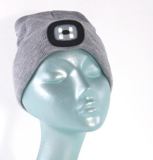 Grey LED Beanie - Beanie hat with built in LED torch. Thumbnail 2