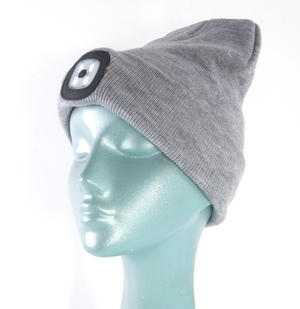 Grey LED Beanie - Beanie hat with built in LED torch. Thumbnail 3