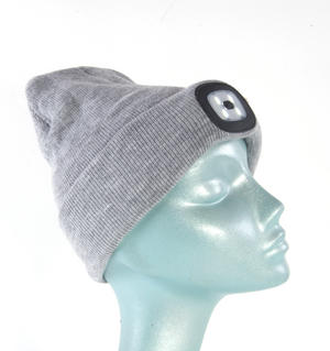 Grey LED Beanie - Beanie hat with built in LED torch. Thumbnail 4