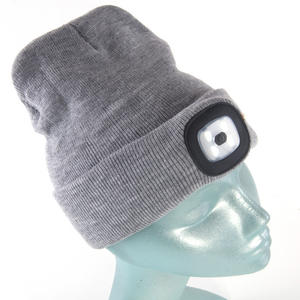 Grey LED Beanie - Beanie hat with built in LED torch. Thumbnail 5