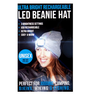 Grey LED Beanie - Beanie hat with built in LED torch. Thumbnail 6