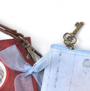 Rose Tea Flat Clutch - Mirabelle Neoprene Accessory Case Thumbnail 3