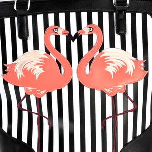 Flamingos Black & White Striped Large Shopping / Shoulder Bag Thumbnail 2