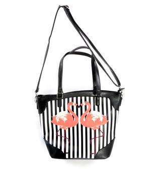 Flamingos Black & White Striped Large Shopping / Shoulder Bag Thumbnail 3