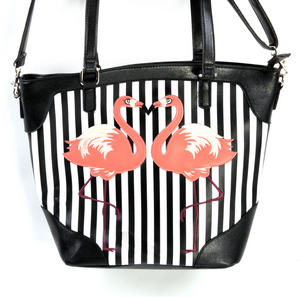 Flamingos Black & White Striped Large Shopping / Shoulder Bag Thumbnail 4