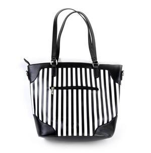 Flamingos Black & White Striped Large Shopping / Shoulder Bag Thumbnail 6
