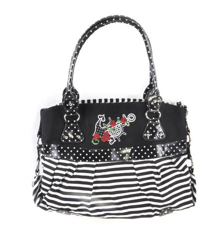 Rose Anchor Tattoo Black & White Striped Large Shopping / Shoulder Bag