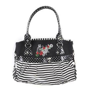 Rose Anchor Tattoo Black & White Striped Large Shopping / Shoulder Bag Thumbnail 1