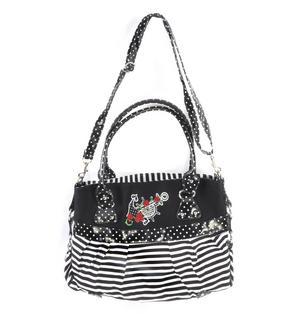 Rose Anchor Tattoo Black & White Striped Large Shopping / Shoulder Bag Thumbnail 2